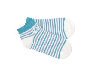 Pair of child's striped socks isolated on a white