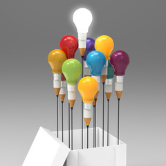 drawing idea pencil and light bulb concept outside the box as cr