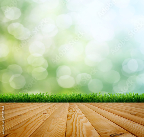 planed floor and grass