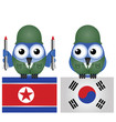 North and South Korea flags