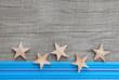 Weihnachtskarte in Blau mit Holzsterne zum Selbermachen