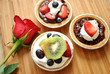 Fruity Mini Desert Pies with a Rose
