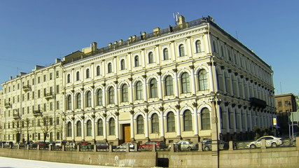 Facade of an old building in Petersburg. Embankment of Moika