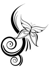 tatuaggio farfalla tribale