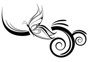 farfalla stilizzata tatuaggio tribale
