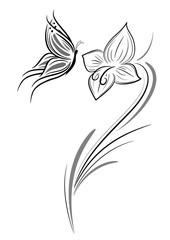 farfalla con fiore tattoo