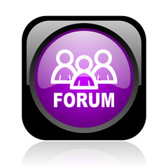 forum black and violet square web glossy icon