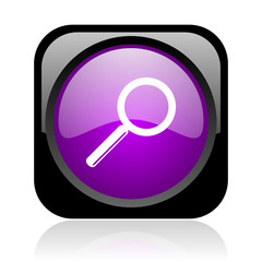 search black and violet square web glossy icon