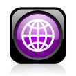 earth black and violet square web glossy icon