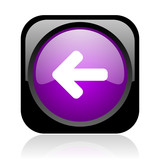 arrow left black and violet square web glossy icon