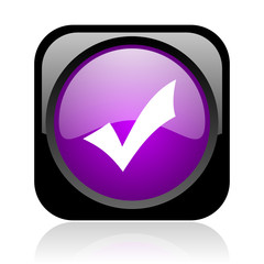 accept black and violet square web glossy icon