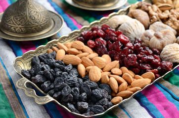Mixed dried fruits and nuts in oriental style