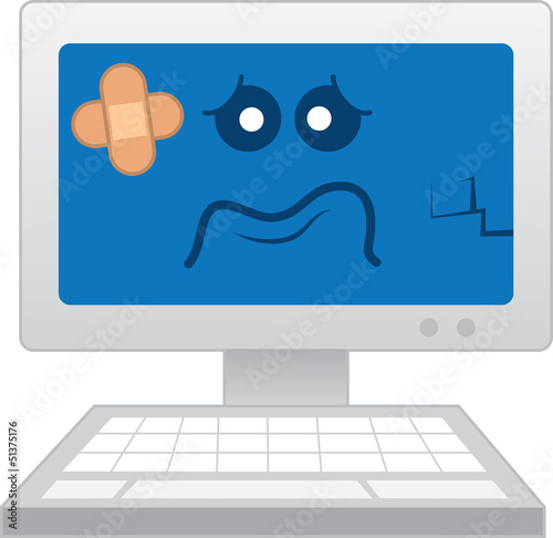 Isolated computer with sick cartoon face