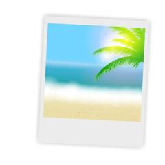 Beautiful summer background with instant photos, beach, sea, sun