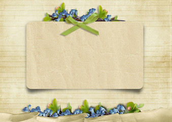Vintage background with card and blue flowers