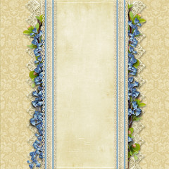 Vintage superb background  with lace and blue flowers