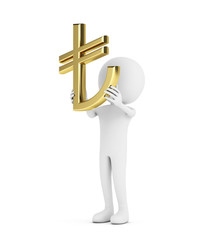 3d white human with gold tl(turkish) symbol
