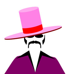 man with large pink pimp hat