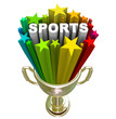Sports Word Gold Trophy Winner Champion