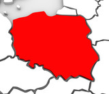 Poland Abstract 3D Map Northern Eastern Europe poster