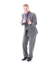 global businessman image on white background