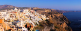 Panoramic sunset view of Fira on the island of Santorini, Greece