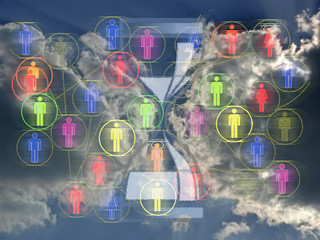 Network illustration with 3d people