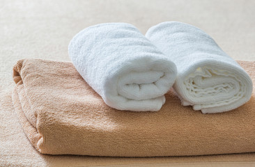 White and brown towel