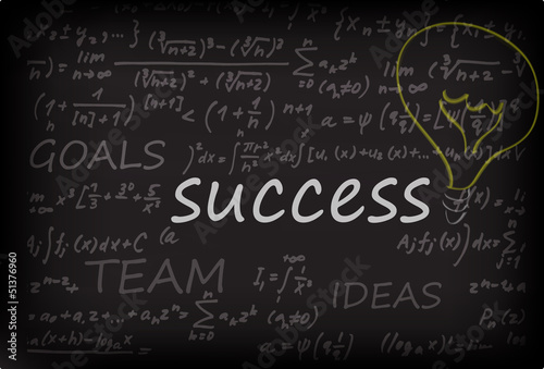 success concept on chalk board