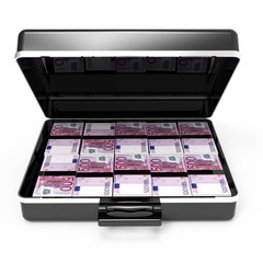 Briefcase full of Euro banknotes