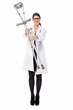 Smiling medical expert holding pair of crutches