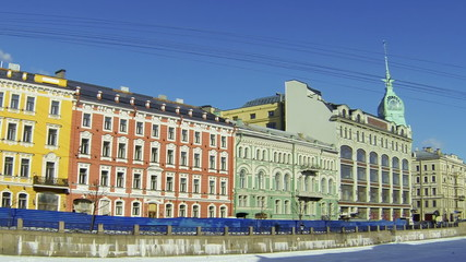 Facade of an old building in Petersburg. Moika.