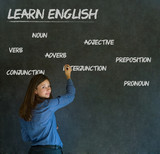 Fototapety Learn English teacher with chalk background