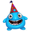 3d cartoon cute holiday blue monster