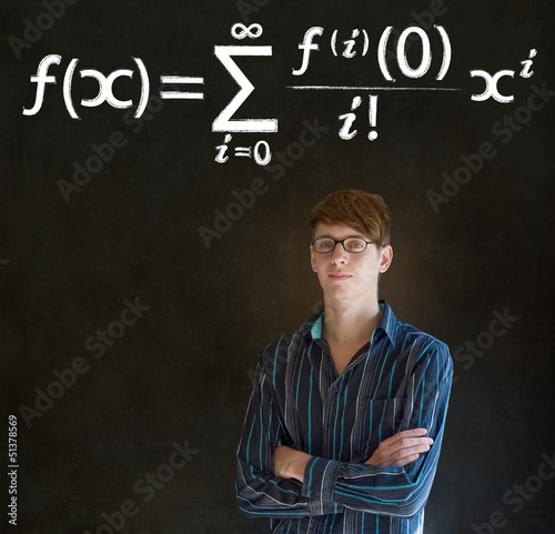 Learn math or maths teacher with chalk background
