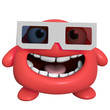 3d cartoon cute red monster