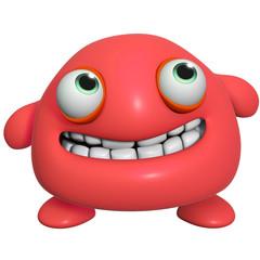 3d cartoon cute red monster