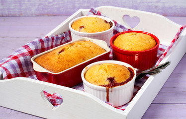 Berry and almond pudding
