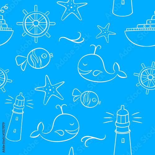Sea And Holiday Doodles Seamless Pattern