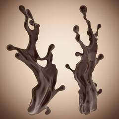 set of 3d liquid chocolate splash elements isolated
