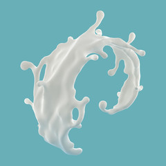 3d abstract liquid milk wave splash