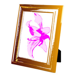 Vintage foto frame wooden and pink lily.Vector