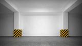 Abstract empty underground parking interior