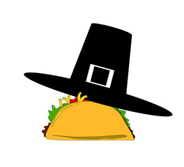taco wearing pilgrim hat
