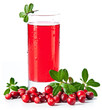 Fruit drink made from cranberries with leaves on white backgroun