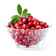 Glass bowl with cranberries on white background