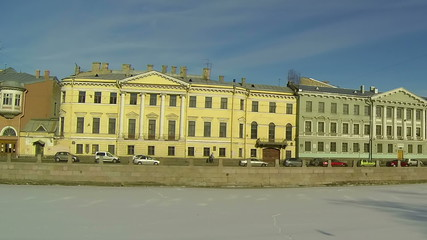 Facade of an old building in Petersburg. River Moika