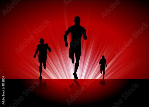走る3人の男