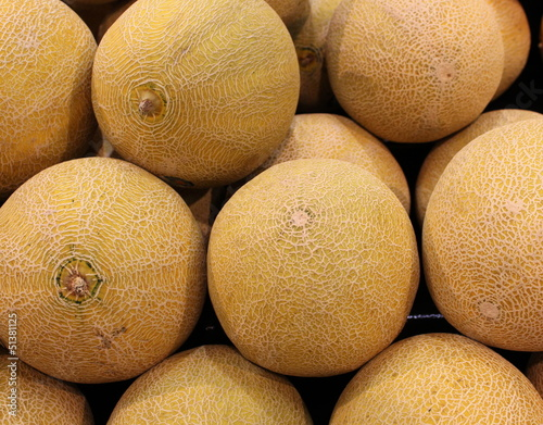 Whole cantaloupes on display at local market