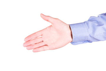 Male hand stretching for handshake